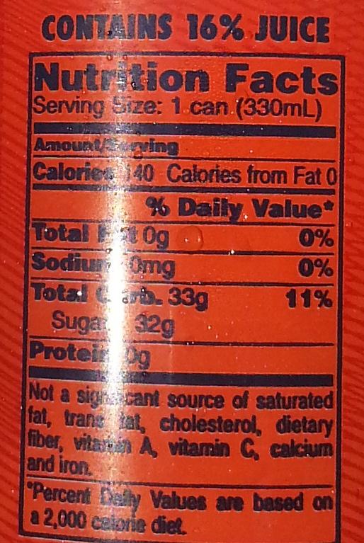 Aranciata Rossa - Nutrition facts
