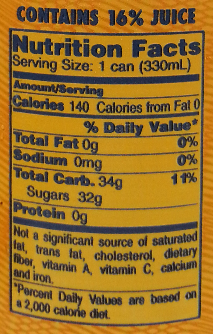 Italian sparkling orange beverage from concentrate - Nutrition facts - en
