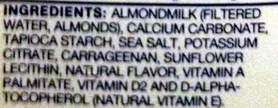 Unsweetened original almondmilk - Ingredients