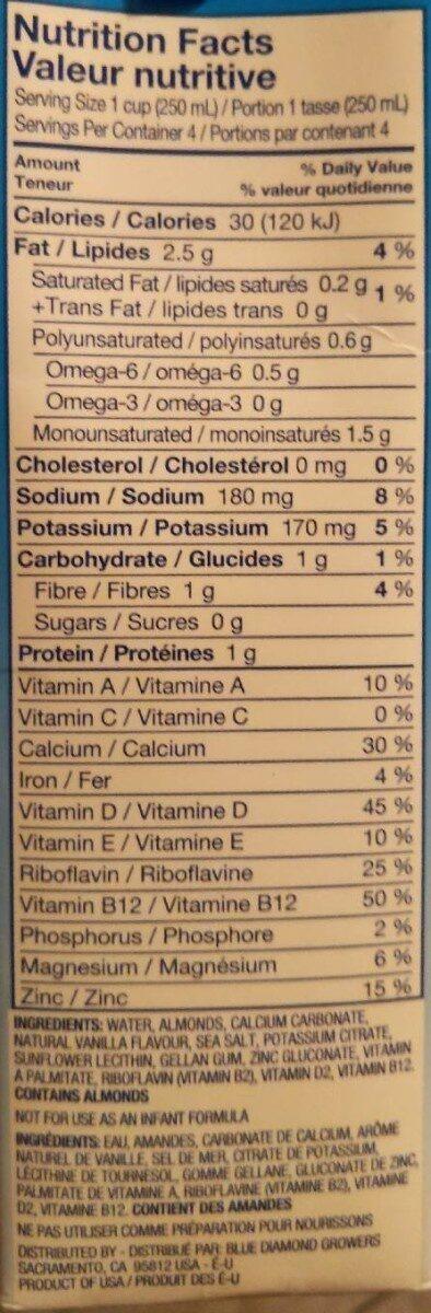 Almond breeze vanillé non sucré - Informations nutritionnelles - fr