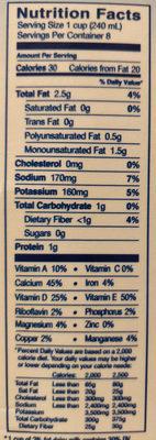 Unsweetened original almondmilk - Nutrition facts