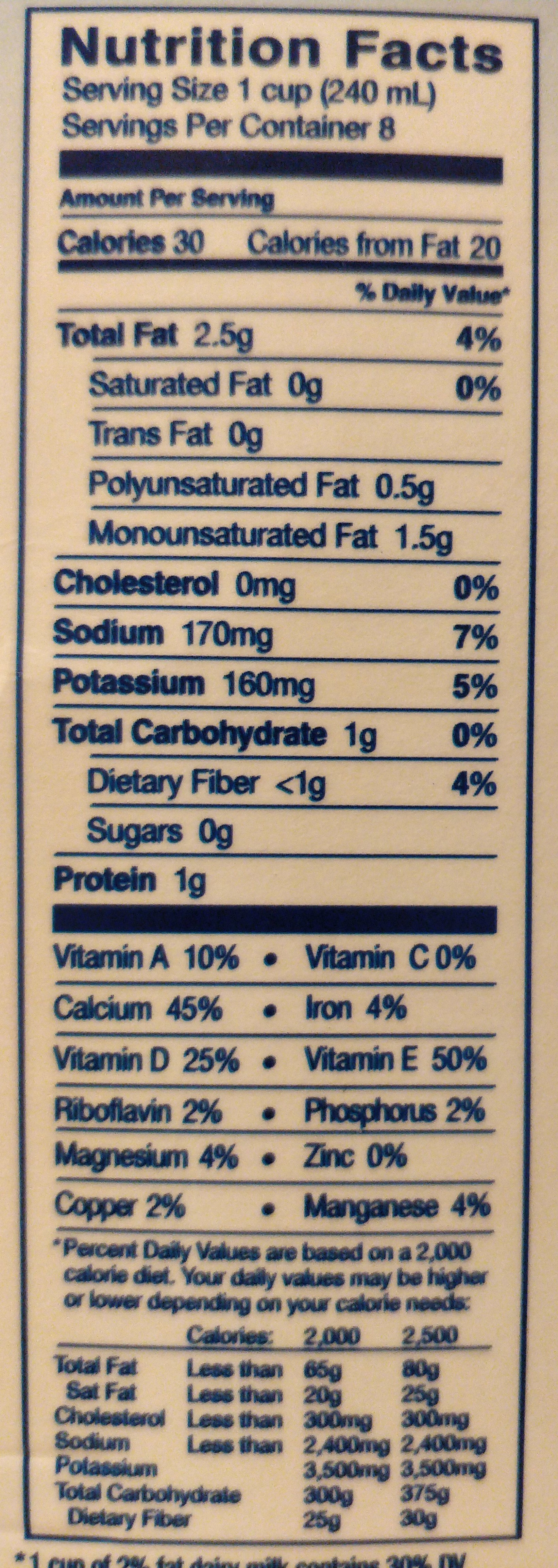 Unsweetened original almondmilk - Nutrition facts - en