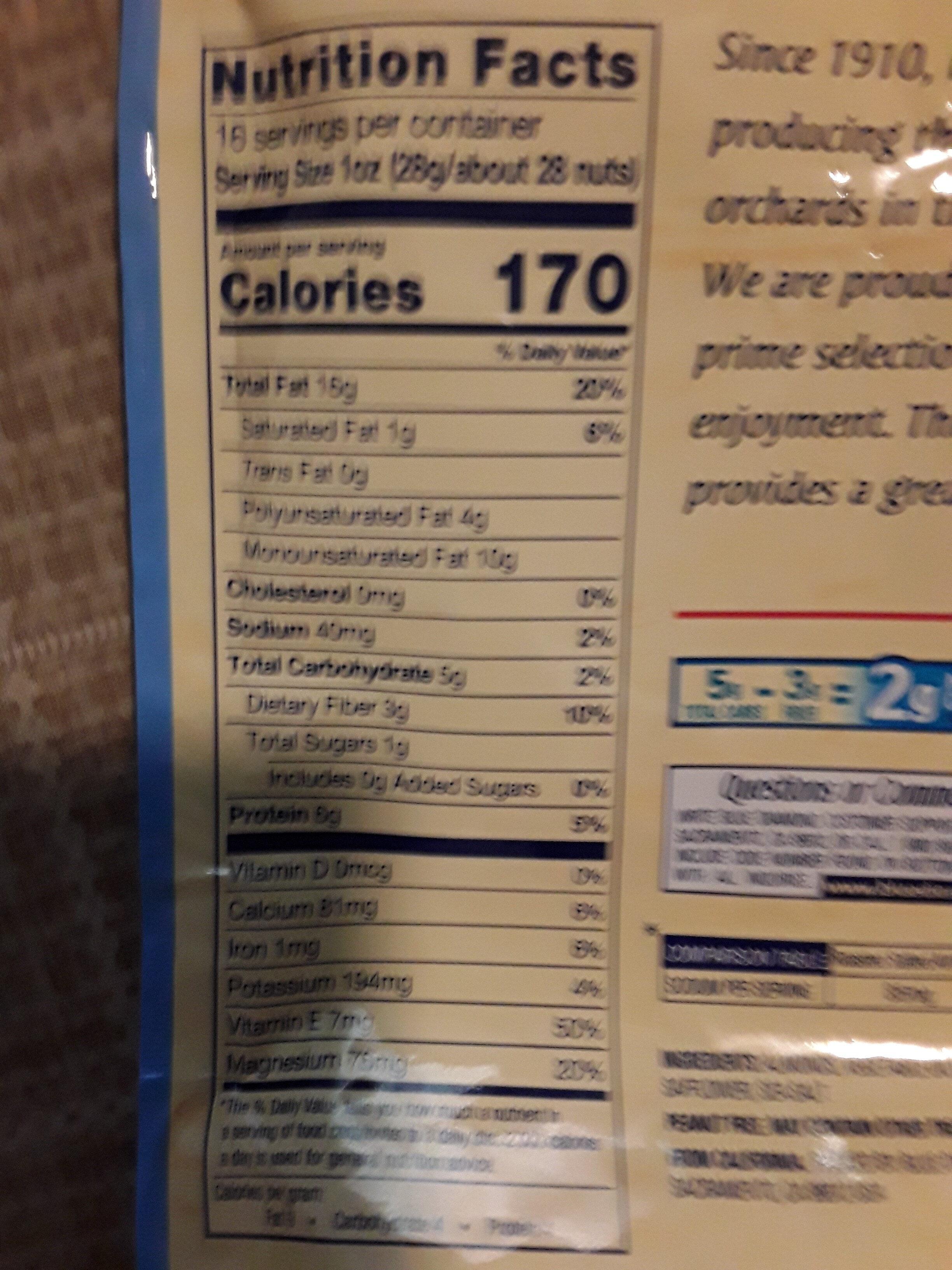 Almonds - Informations nutritionnelles - en