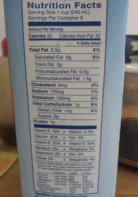 Almond Milk - Nutrition facts