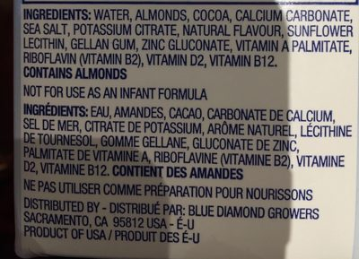 Almond Breeze Unsweetened Non-dairy Beverage Chocolate - Ingrédients - fr