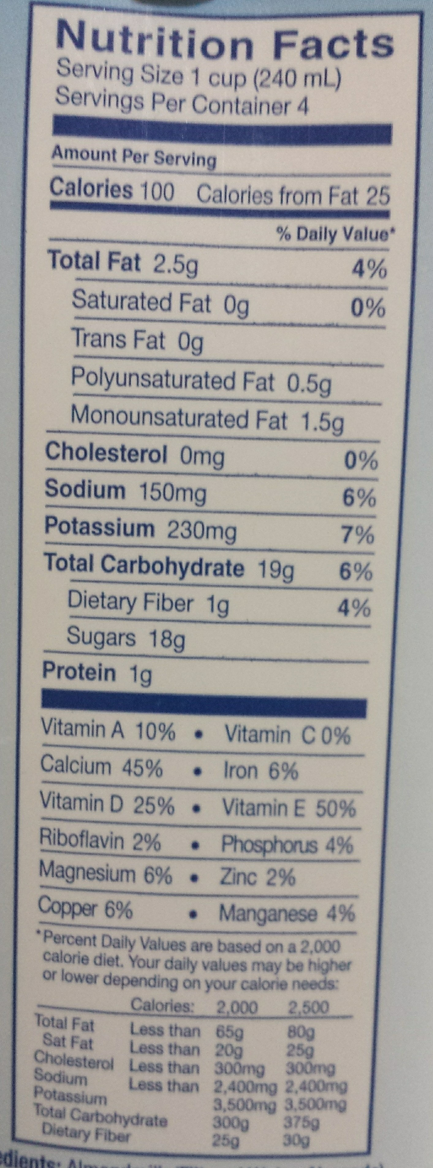 Almond milk with Chocolate - Nutrition facts