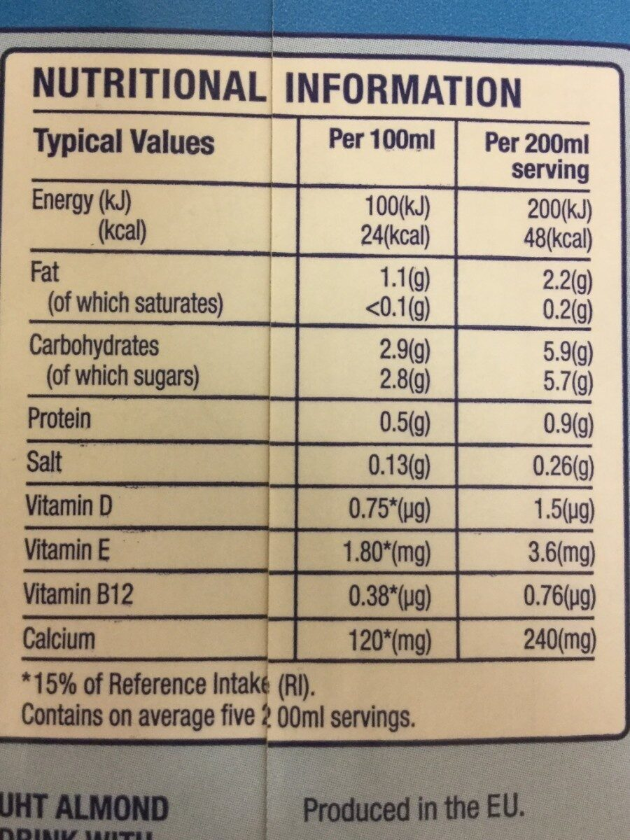 Blue Diamond Almond Breeze Original Ambient 1L - Informations nutritionnelles - fr