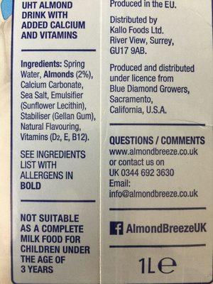 Blue Diamond Almond Breeze Unsweetened Ambient 1L - Ingrédients