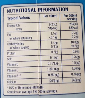 Blue Diamond Almond Breeze Long Life Vanilla Milk Alternative 1L - Informations nutritionnelles