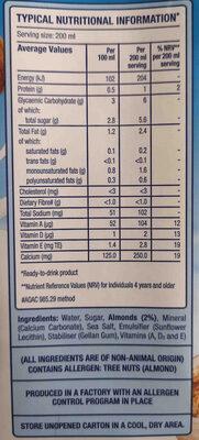 Blue diamond almond breeze original almond milk sweetended - Ingredients