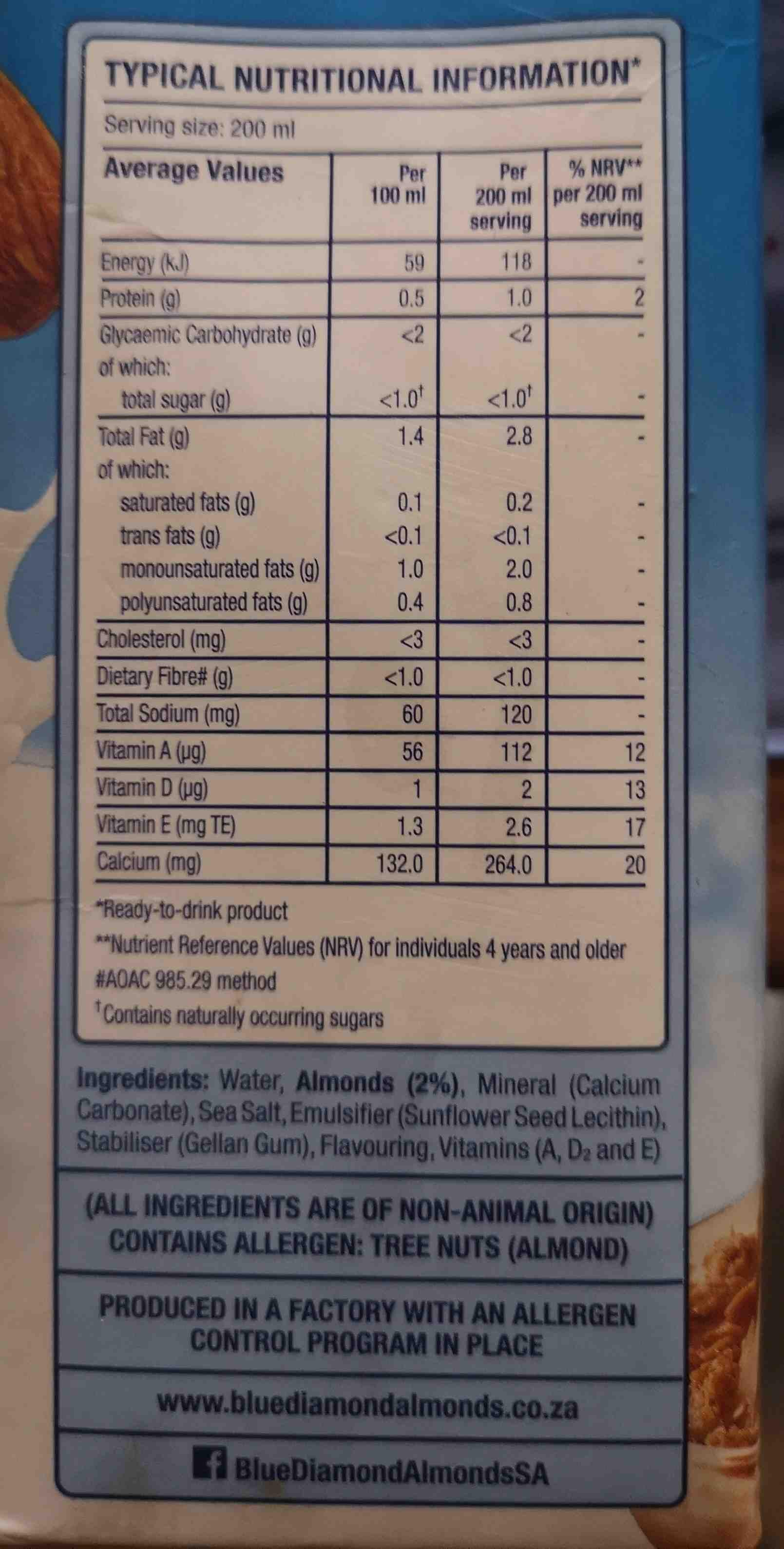 Blue diamond almond breeze almost milk original unsweetened - Ingredients