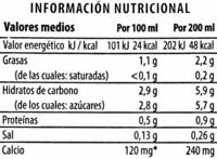 Bebida de almendras original - Voedingswaarden - es