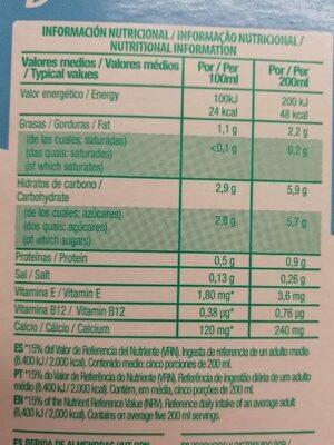 Almond breeze original - Voedingswaarden - es
