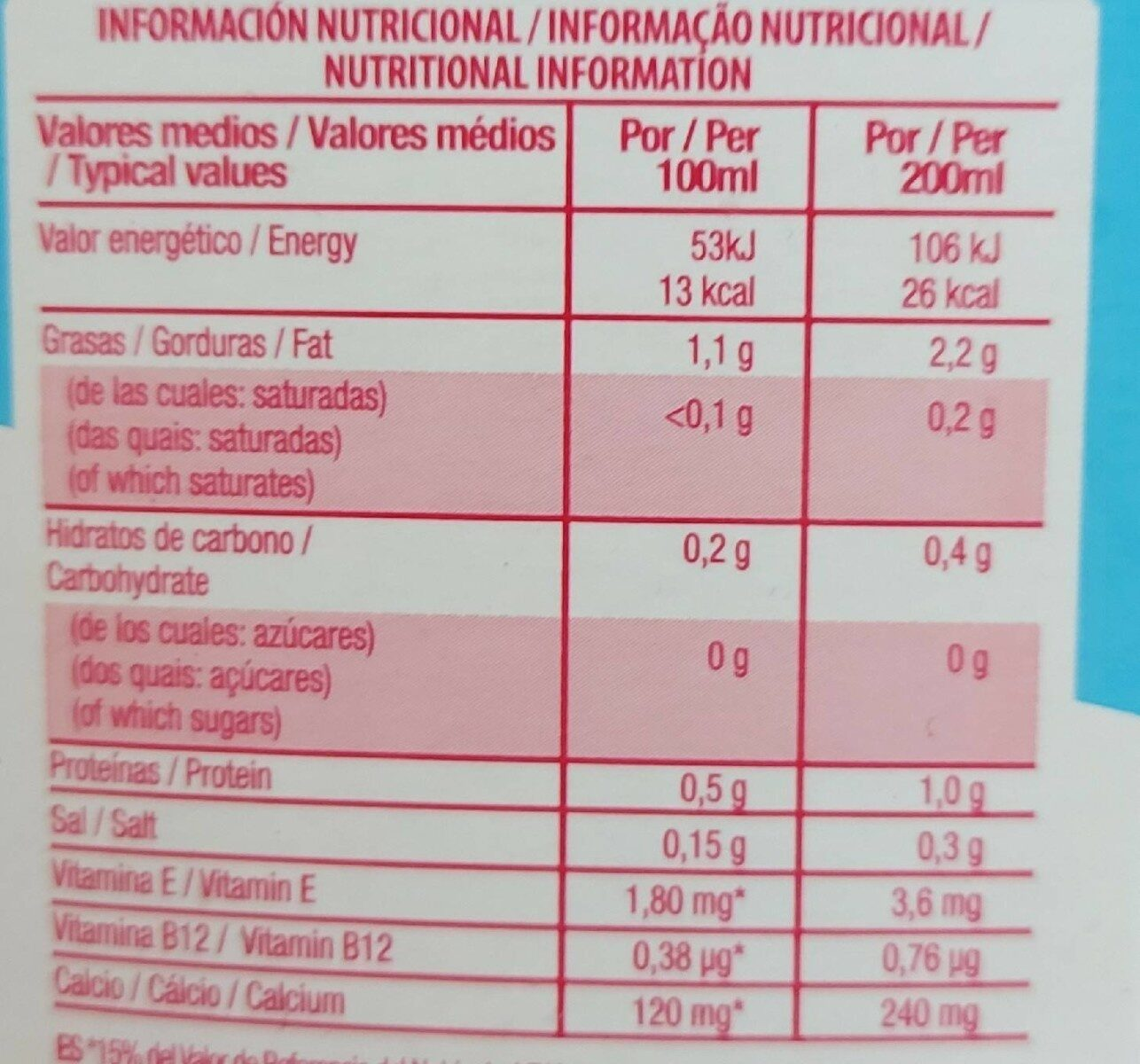 Almond breeze - Nutrition facts - es