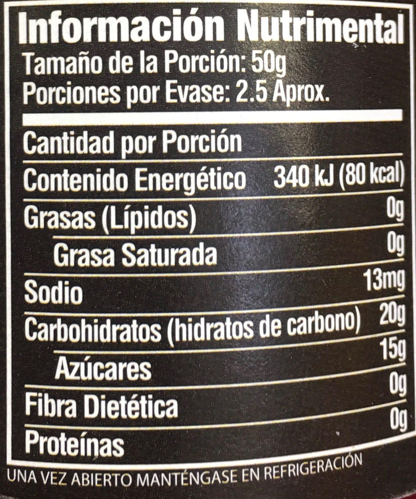 CEREZAS DESHUESADAS AL MARRASQUINO - Informations nutritionnelles - es