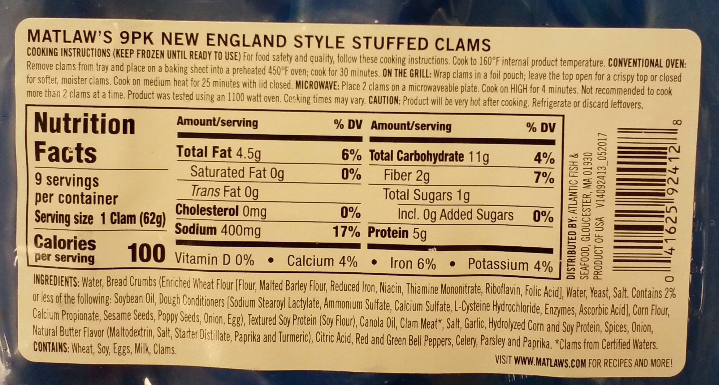 Stuffed Clams - Informations nutritionnelles - en