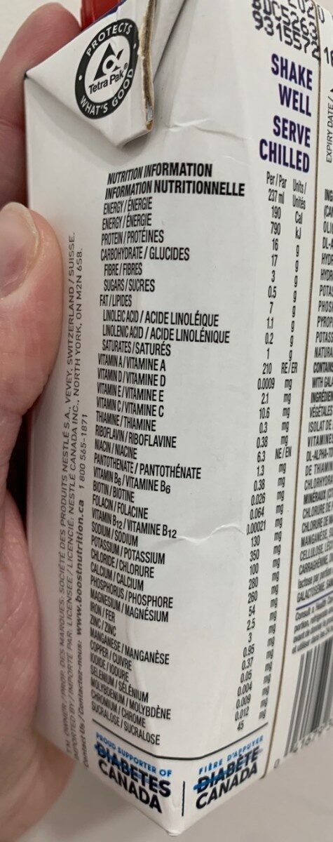 Boost diabetic chocolate - Nutrition facts - fr