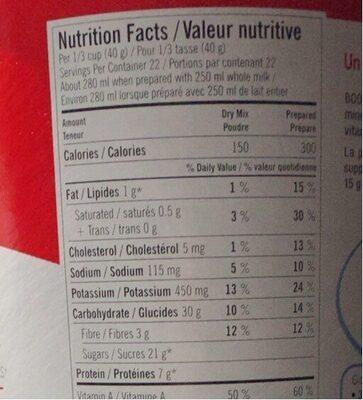 Dejeuner instantaner - Informations nutritionnelles - en