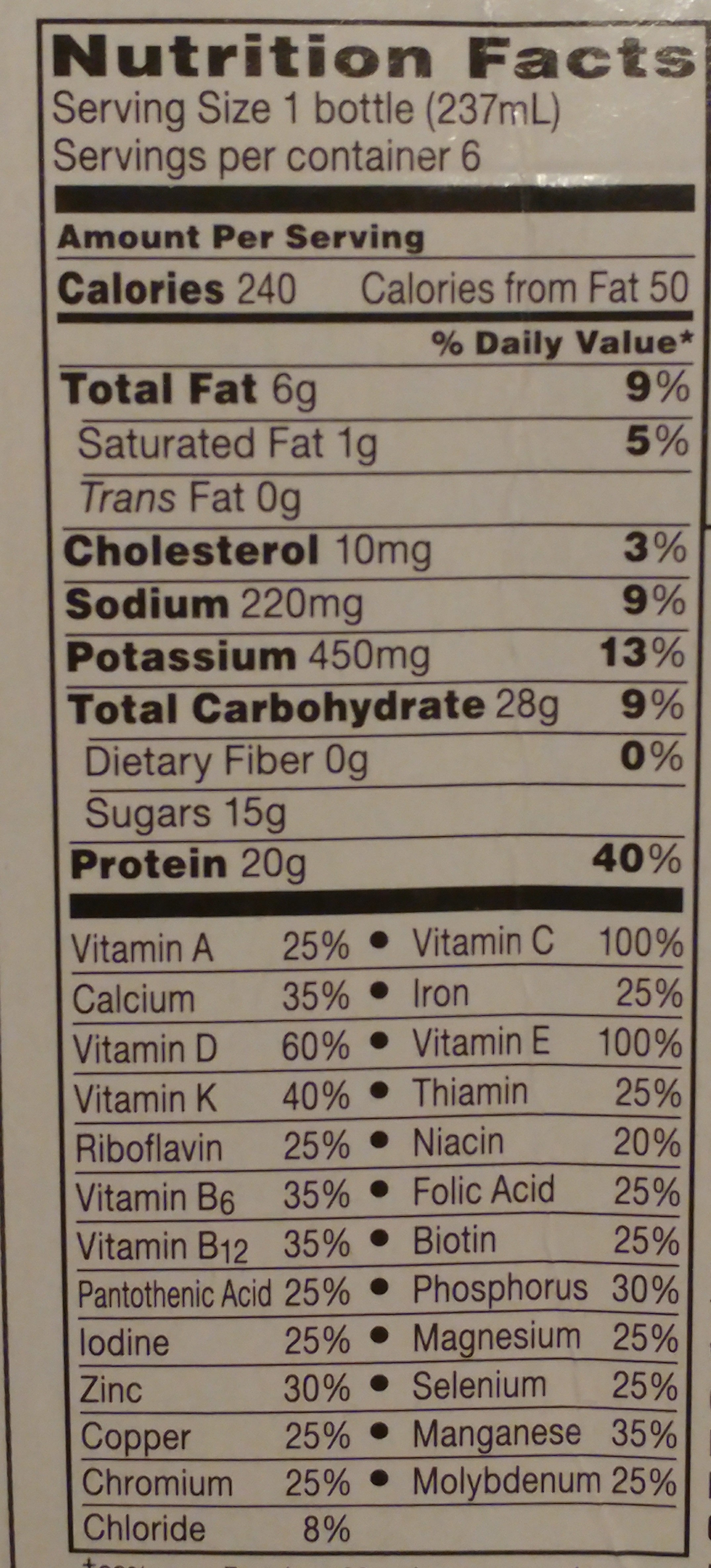 Boost strawberry - Nutrition facts