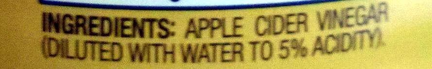 Apple Cider Vinegar - Ingredients