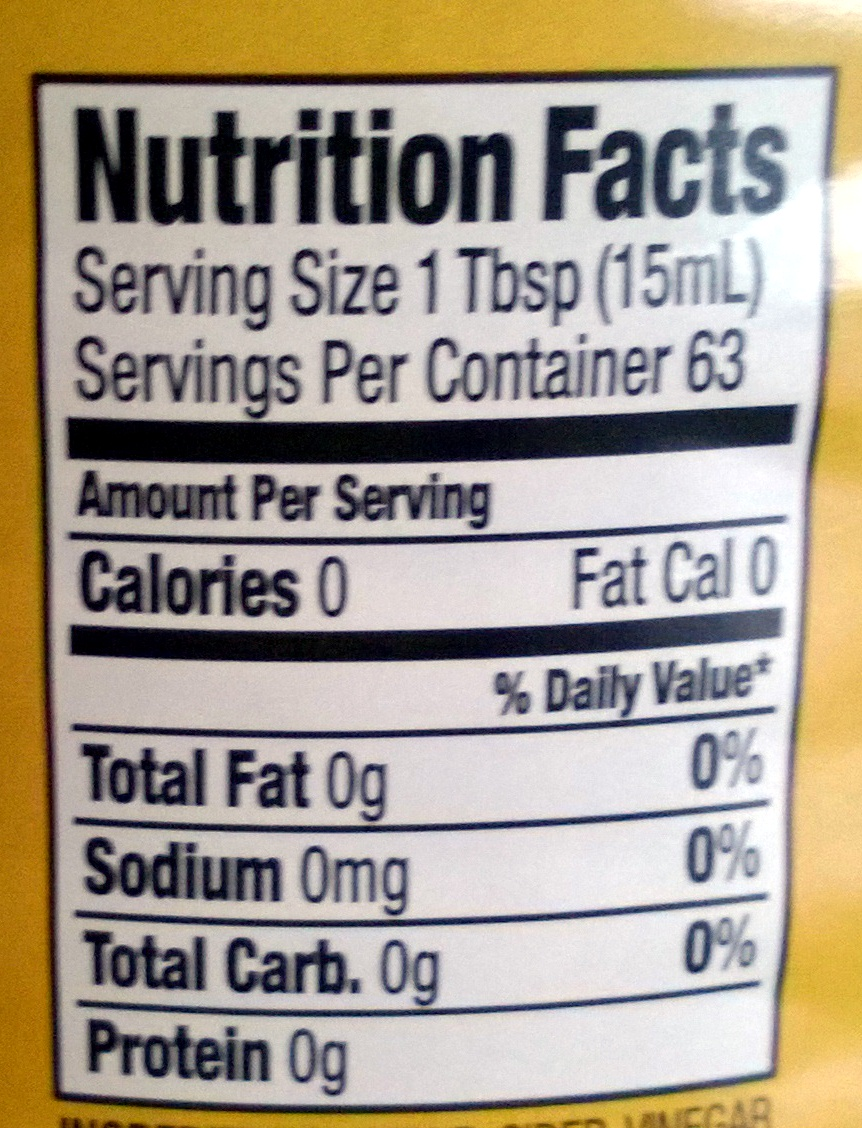 Apple Cider Vinegar - Nutrition facts
