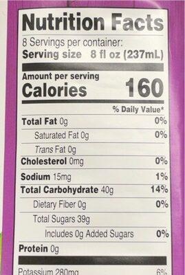 100% Grape Juice - Valori nutrizionali - en