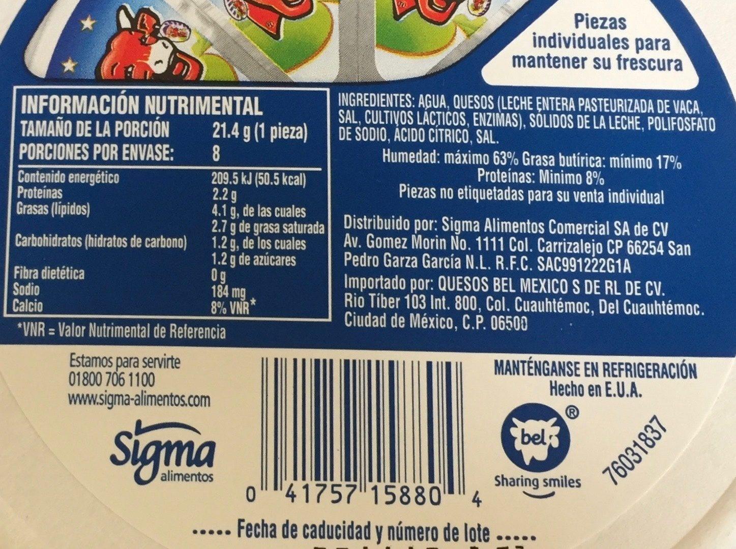 La vaca que ríe Queso untable - Nutrition facts
