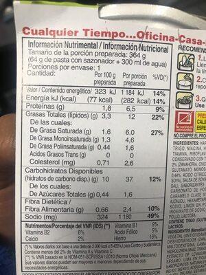 Camarón y limón - Voedingswaarden - es