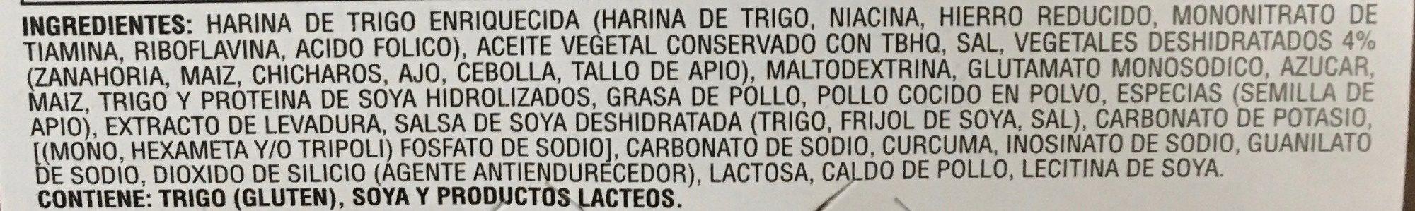 Instant Lunch Sabor a Pollo - Ingredienti - es