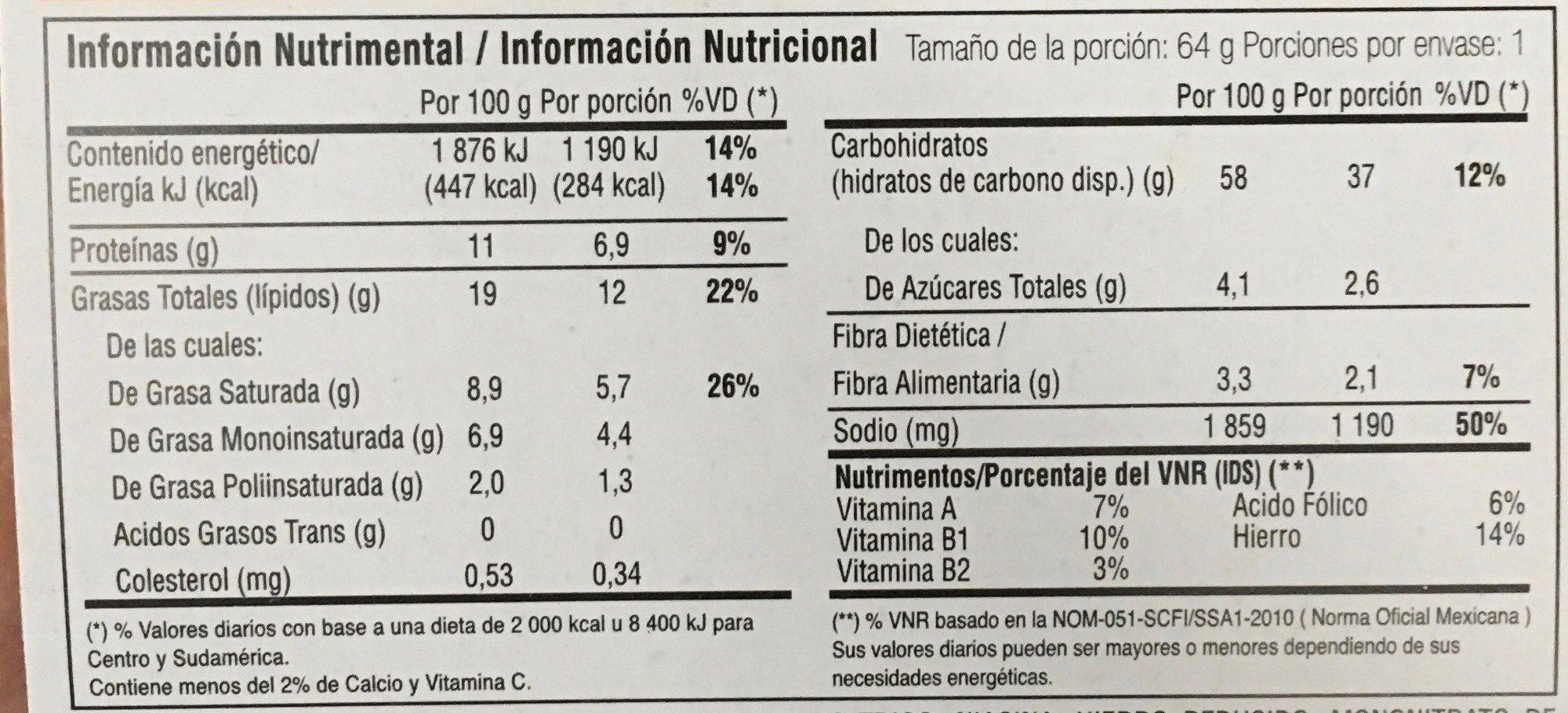 Instant Lunch Sabor a Pollo - Valori nutrizionali - es