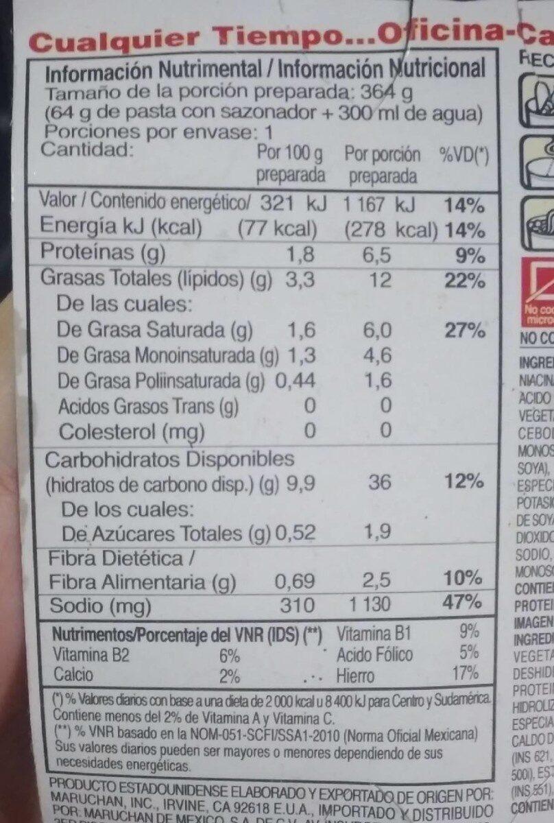Maruchan - Nutrition facts - es
