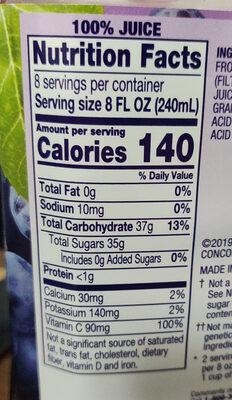 100% Concord grape juice - Voedingswaarden - en