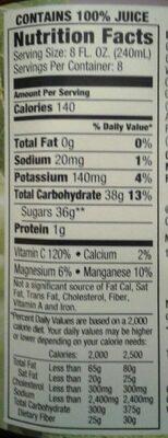 100% Grape Juice - Informations nutritionnelles