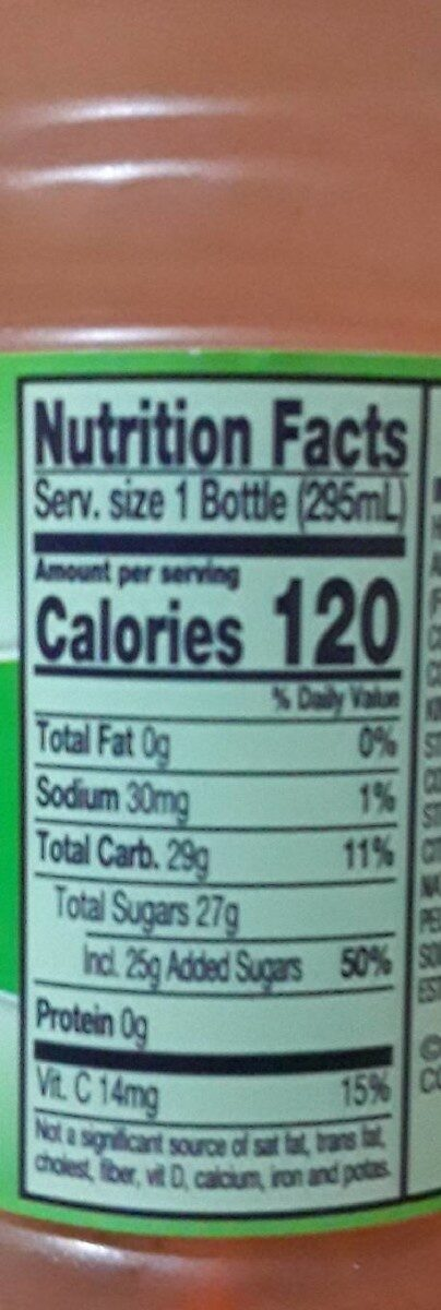 Juice Drink Blend. - Nutrition facts - en