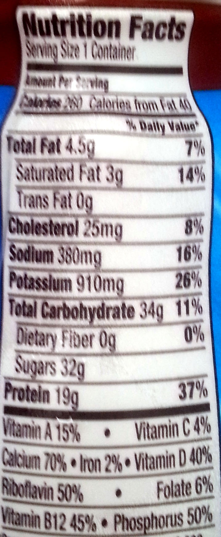 Lowfat Chocolate Milk Nutrition Facts