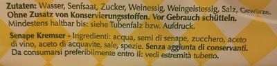 Original Kremser Senf - Ingredients - de