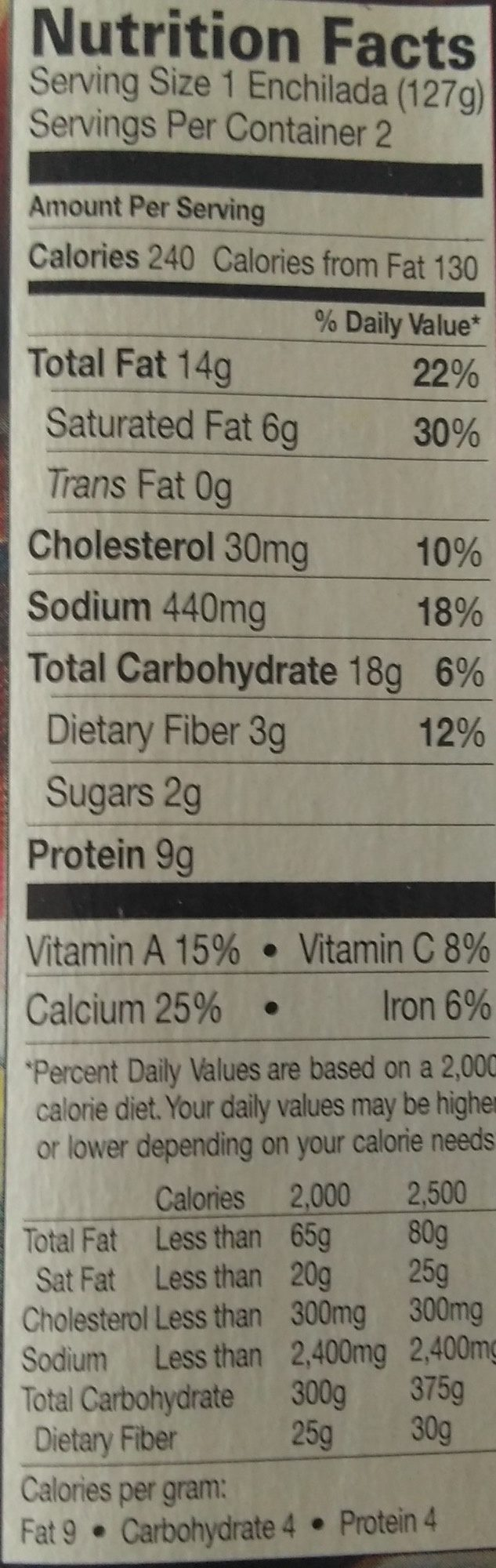 Cheese Enchilada - Nutrition facts