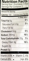 Enchilada Black bean and vegetable - Nutrition facts