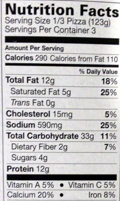 Pizza cheese - Nutrition facts - en