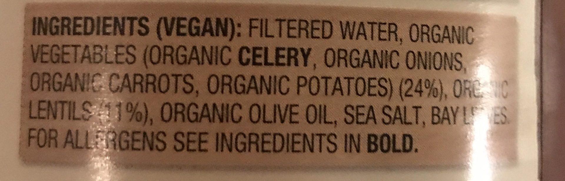 Organic Lentil Soup - Ingredients - en