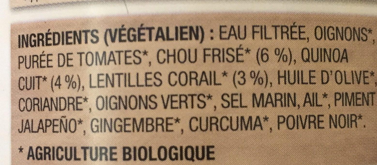 Soupe au quinoa au chou frisé kale et aux lentilles corail - Ingrediënten