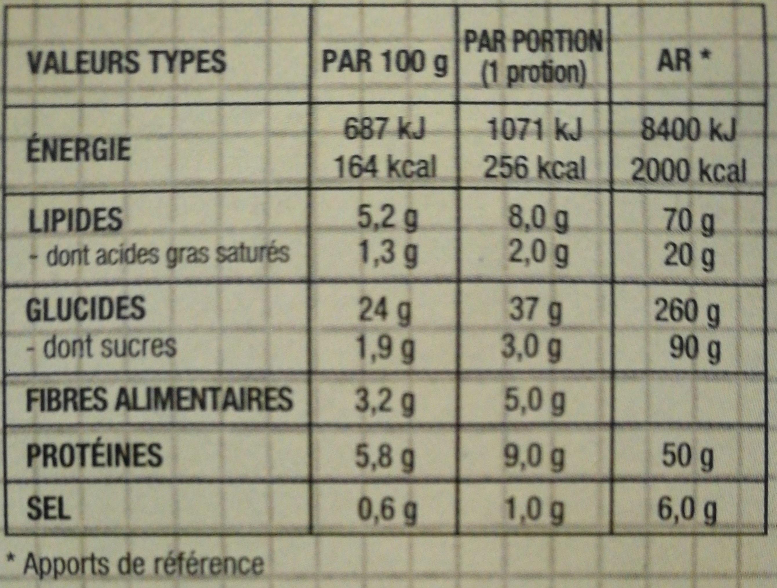 Burrito au cheddar, riz et harricots - Informations nutritionnelles - fr