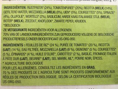 Lasagne aux Légumes, Pâtes de Riz Sans Gluten - Ingrédients