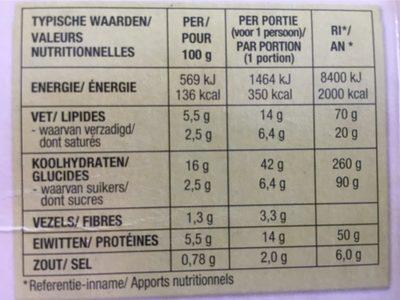 Lasagne aux Légumes, Pâtes de Riz Sans Gluten - Informations nutritionnelles