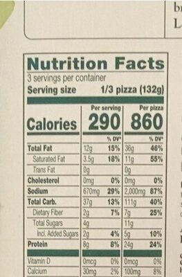 Supreme meatless pepperoni & sausage hand stretched - Nutrition facts - en