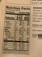 Amy's pizza - Nutrition facts - en