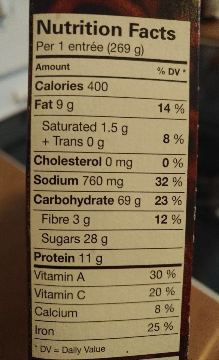 Amy's Thai Pad Thai (Rice Noodles, Vegetables and Tofu) - Nutrition facts - fr