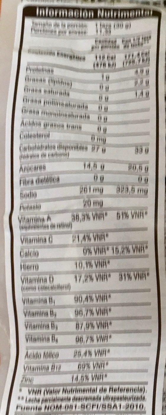 Corn Bursts - Informations nutritionnelles