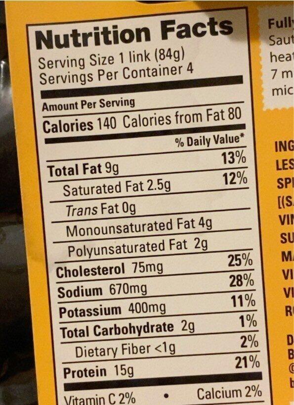 Blazing buffalo chicken sausage - Nutrition facts - en