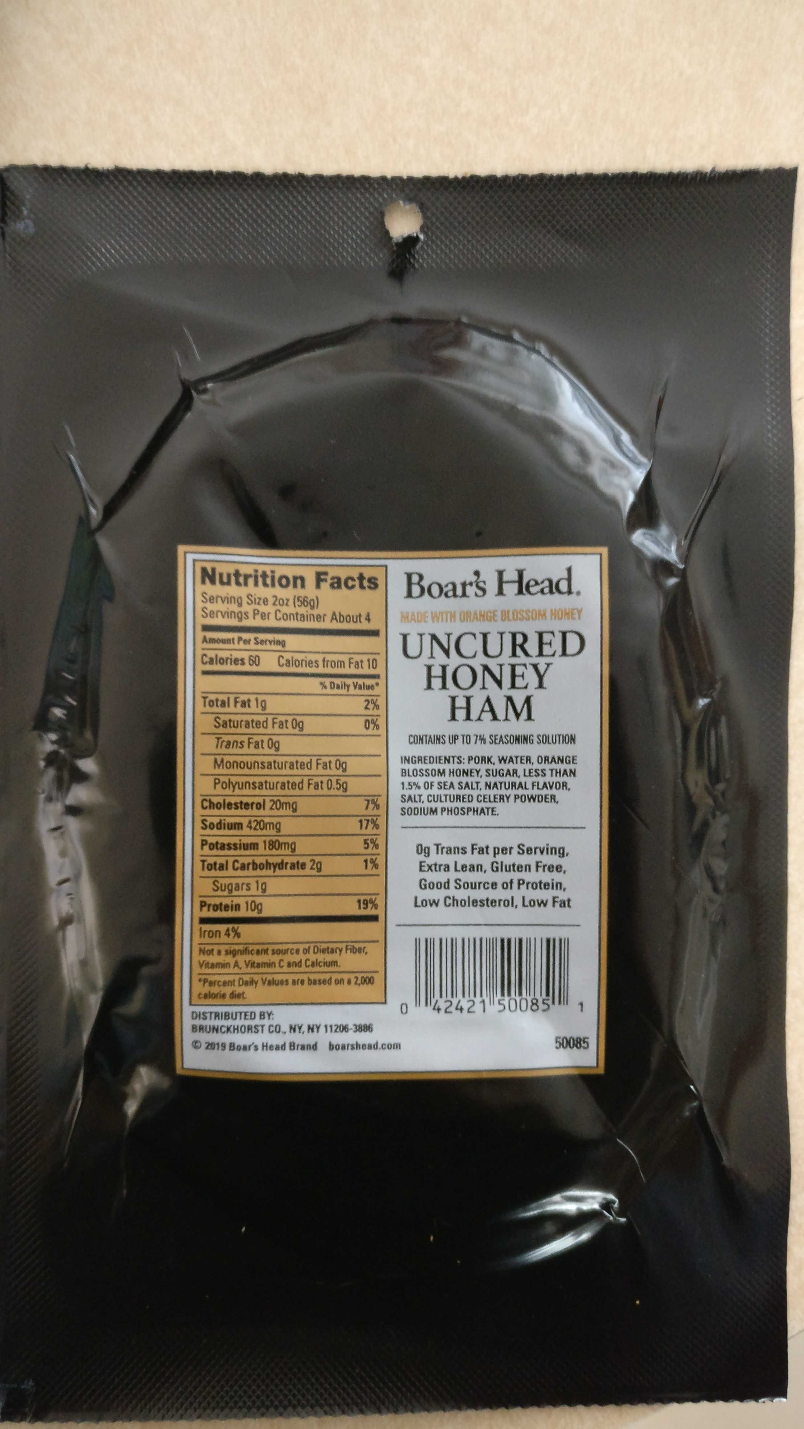 Uncured honey ham - Nutrition facts - en